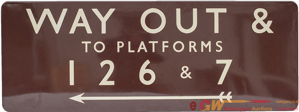 BR(W) FF Enamel Sign WAY OUT & TO PLATFORMS 1 2 6