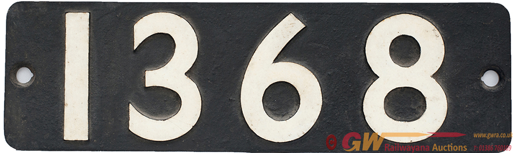 Smokebox Numberplate 1368 Ex GWR 0-6-0 PT Built At