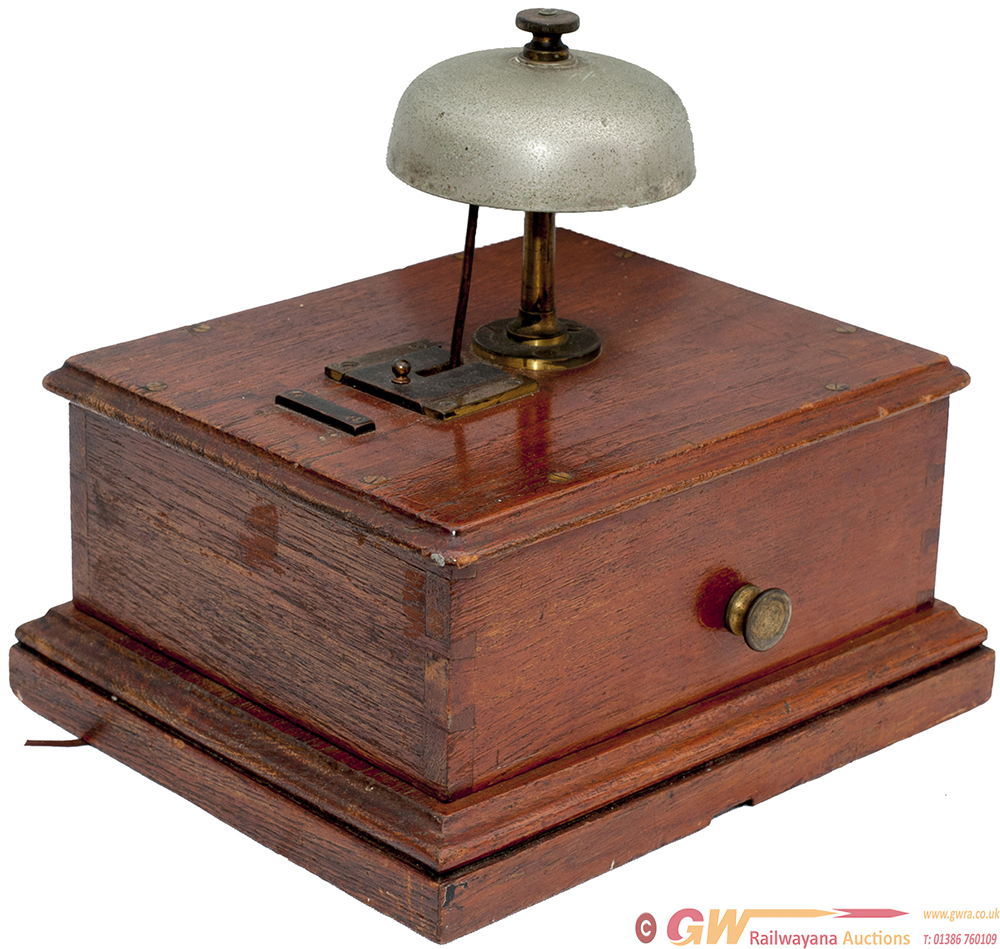 GNR Oak Cased Block Bell With Small Mushroom Bell,
