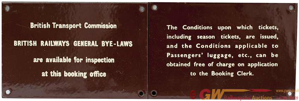 BR(W) Enamel Ticket Office Signs, A Pair. One Re