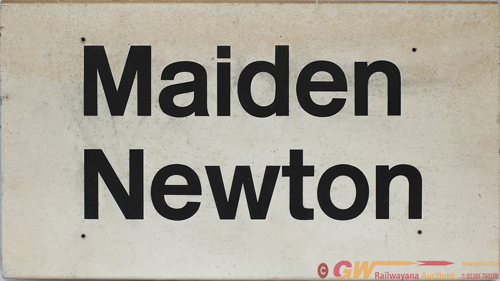 BR Station Sign MAIDEN NEWTON, Black On White