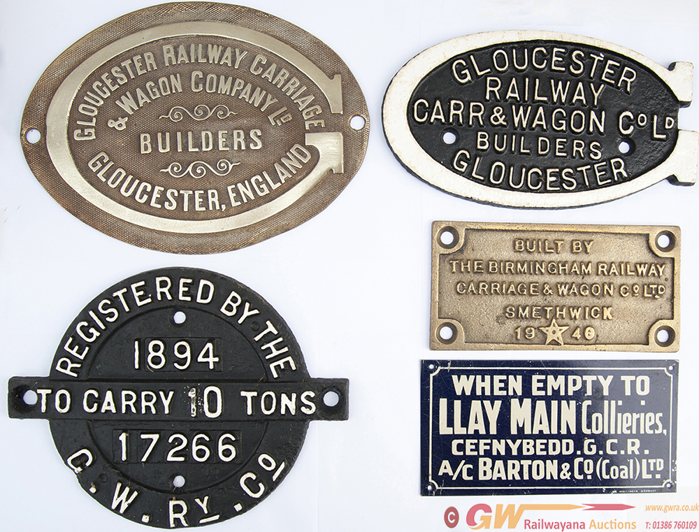 Wagon Plates X 5 To Include: GWR Registration