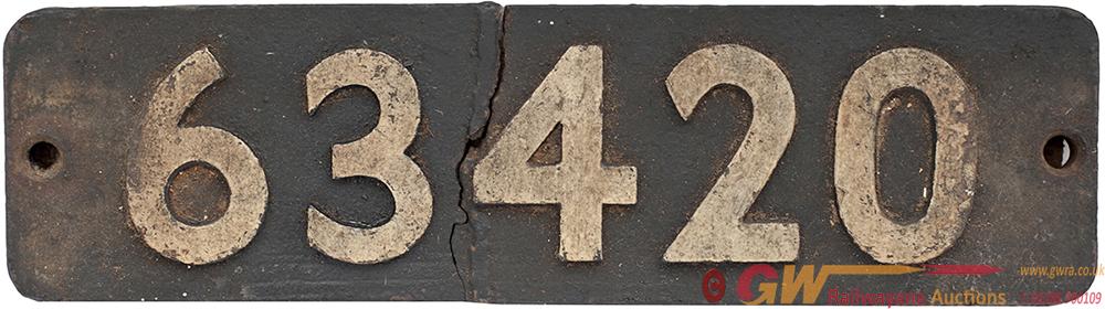 Smokebox Numberplate 63420 Ex NER q6 0-8-0 Built