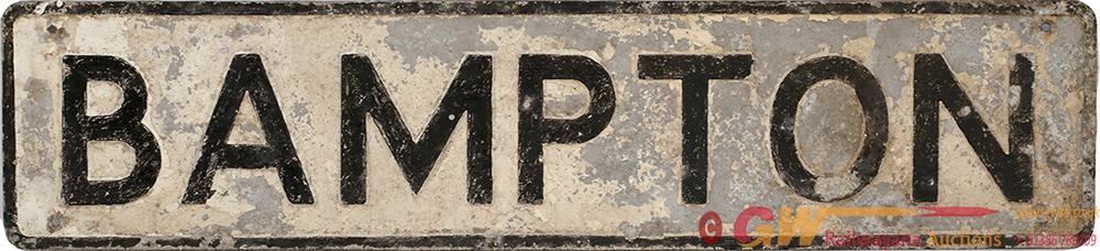 Cast Aluminium Road Sign BAMPTON (DEVON). In