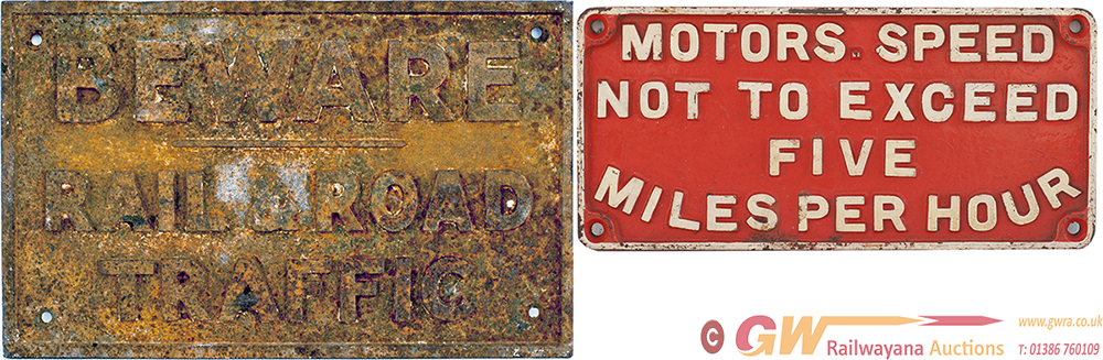 A Pair Of Cast Iron Signs: BEWARE ROAD AND RAIL
