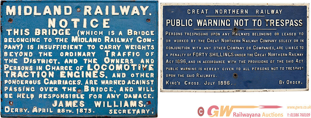 A Pair Of Cast Iron Signs: Great Northern Railway