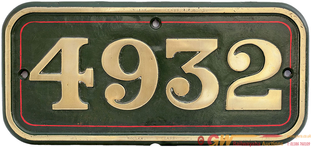 GWR Brass Cabside 4932 Ex 4-6-0 HATHERTON HALL
