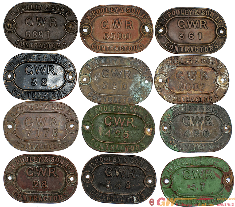 A Collection Of 12 Brass H.Pooley & Son Ltd GWR