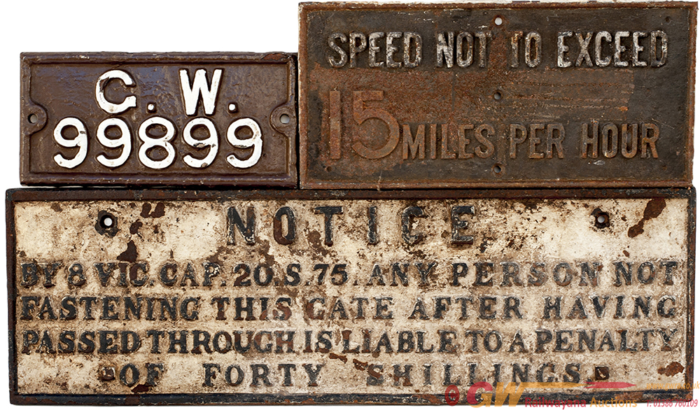 A Trio Of GWR Cast Iron Signs To Include: GWR Pre