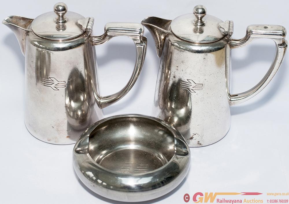BR Double Arrow Era Silverplate Coffee Pots, A