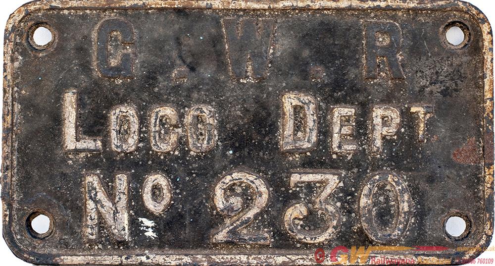 GWR Cast Iron Crane Plate G.W.R LOCO DEPT no230.