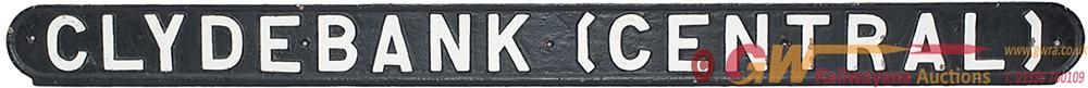 <P>LNER Cast Iron Seatback CLYDEBANK CENTRAL