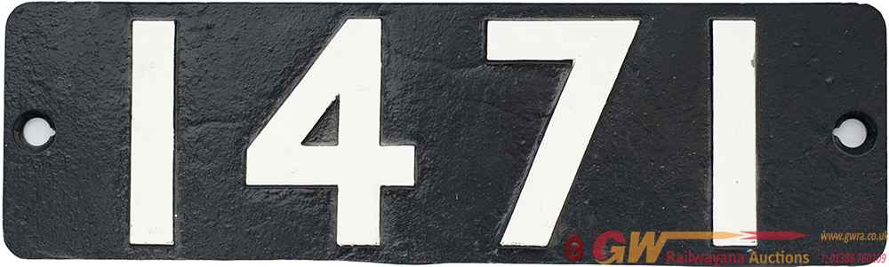 Smokebox Numberplate 1471 Ex GWR 0-4-2 T Built At