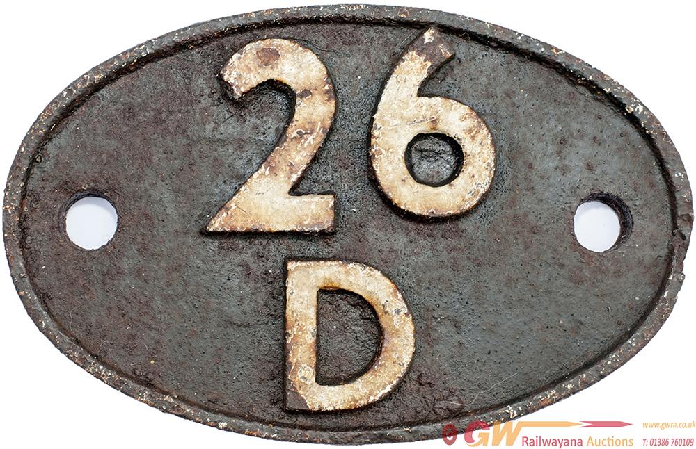 Shedplate 26d BURY 1950-1963, In Ex Loco