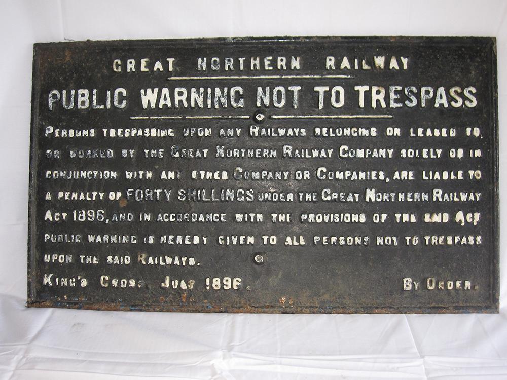 1 GNR Cast Iron Trespass Notice In Original As