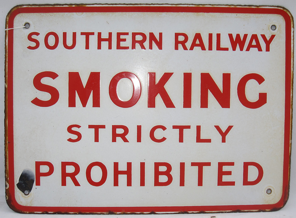 1 SR Enamel Sign. Smoking Strictly Prohibited In