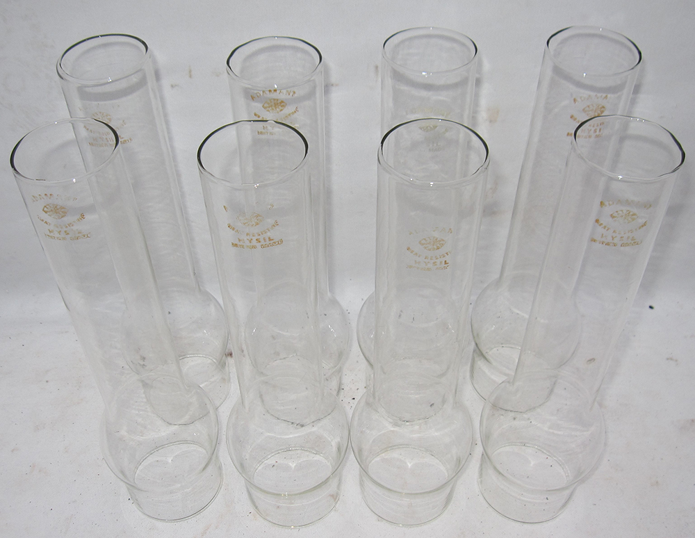 8 Glass Chimney Funnels Marked ADAMANT Suitable