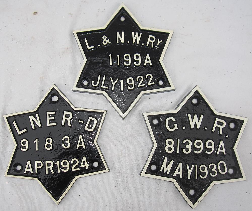 3 Star Wagon Plates. LNER. GWR And LNWR. All