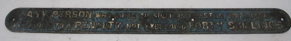 LNER Cast Iron Gate Notice In Good Original