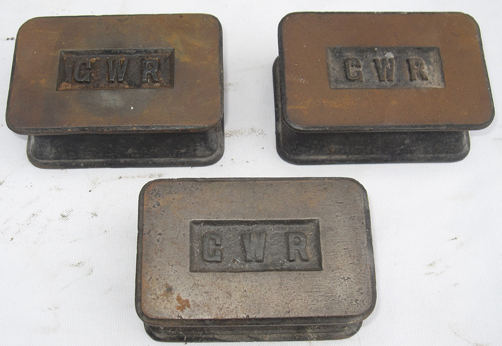 3 GWR Cast Iron Office Paperweights.