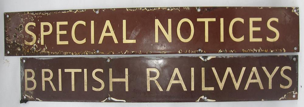2 X BR(W) Enamel Poster Board Heading Signs.