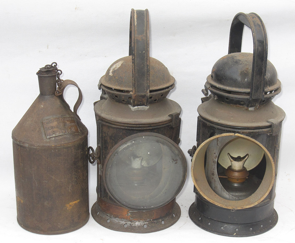 A Lot Containing 2 GWR Handlamps Complete With