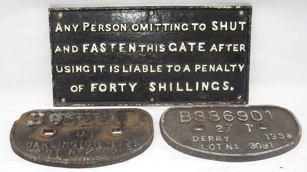 Cast Iron Untitled Gate Notice With 2 X D Wagon