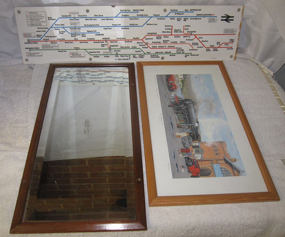 A Lot Containing 3 Items. A Framed BRS Carriage