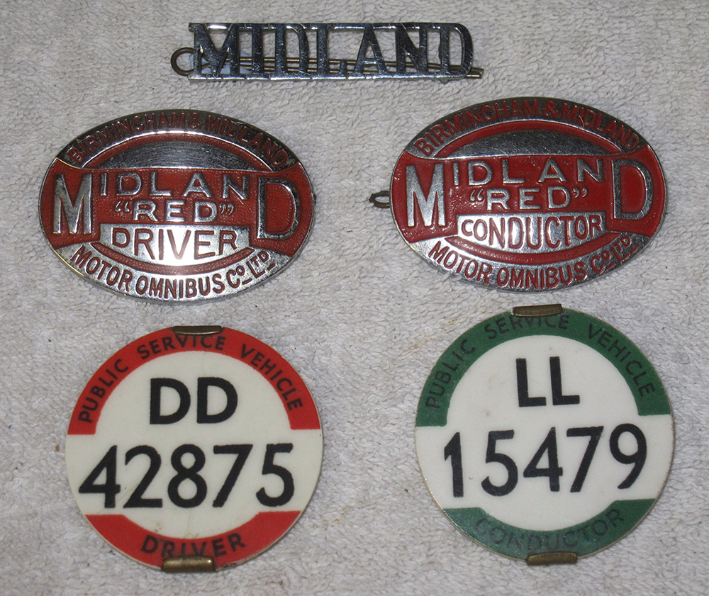 A Lot Containing 5 X Midland Bus Company Badges. 2