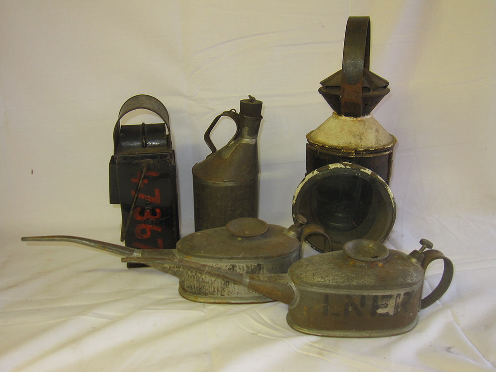 2 Drivers Oil Cans. Gauge Glass Lamp Stencilled
