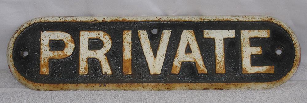 An Original LNER Cast Iron Door Plate. Private.