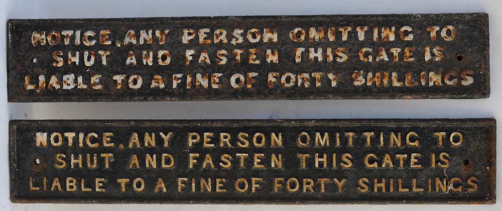 A Pair Of Cast Iron Taff Vale Railway Gate Notices