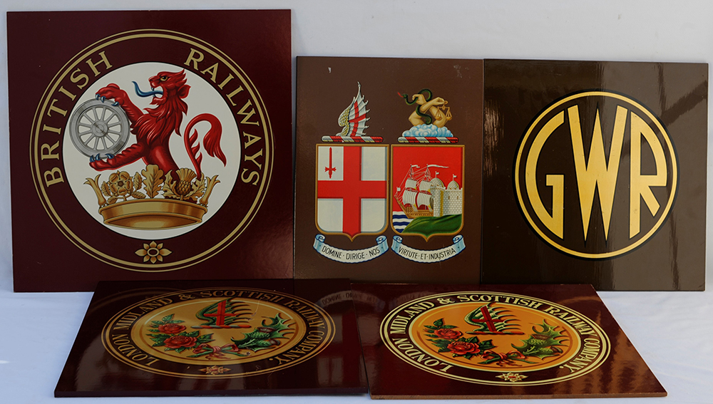 A Lot Containing 5 X Mounted Railway Company