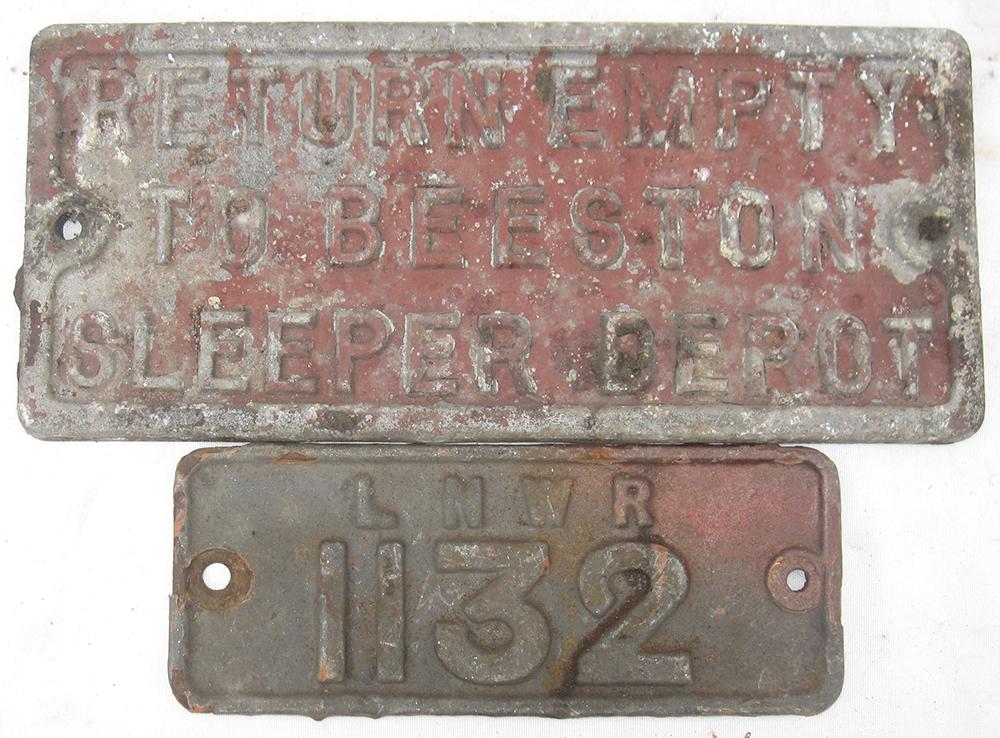 2 Wagon Plates. LNWR 1132 And Return Empty To