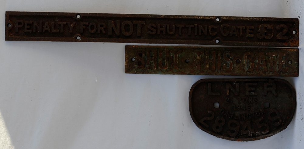 A Lot Containing 3 X Cast Iron Signs. LSWR Shut