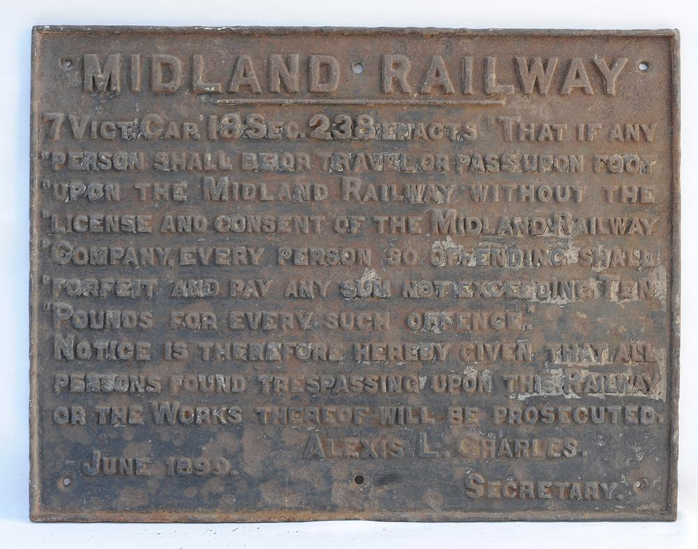 Midland Railway Cast Iron Trespass Sign. Warning