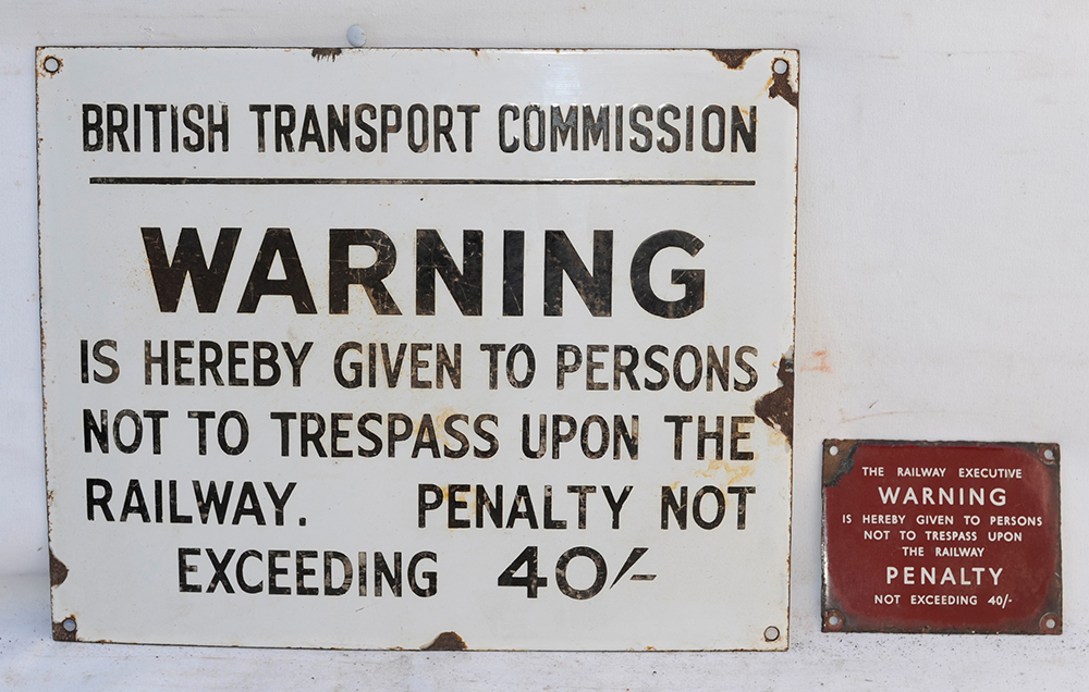 2 X British Railways Enamel Signs. BTC Warning Not