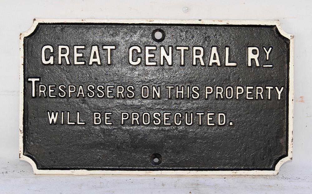 GCR Cast Iron Trespass Sign Face Restored.