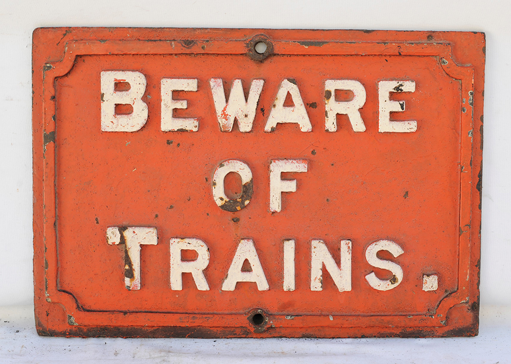 Midland Railway Cast Iron Sign. Beware Of Trains.