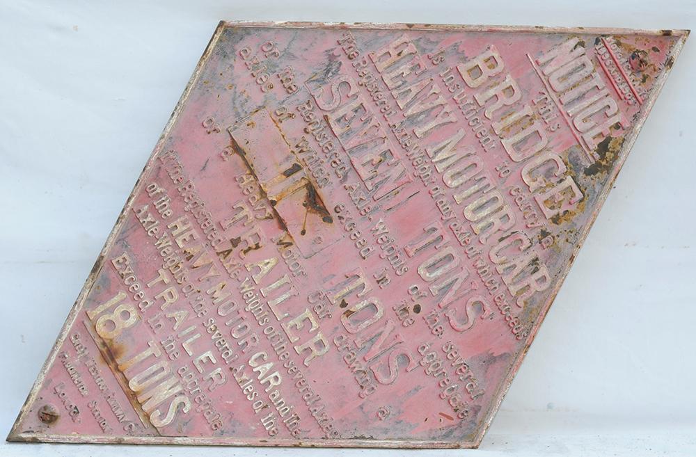 GWR Cast Iron Bridge Diamond With Tonnage Plates.