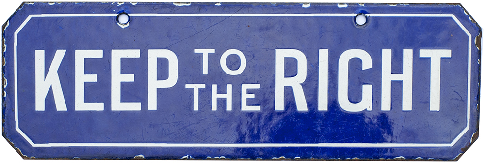 Early Blue Enamel Double Sided Direction Sign.