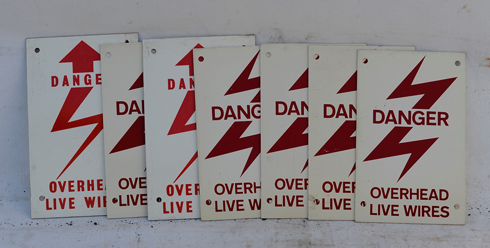 A Collection Of 7 X DANGER OVERHEAD LIVE WIRES