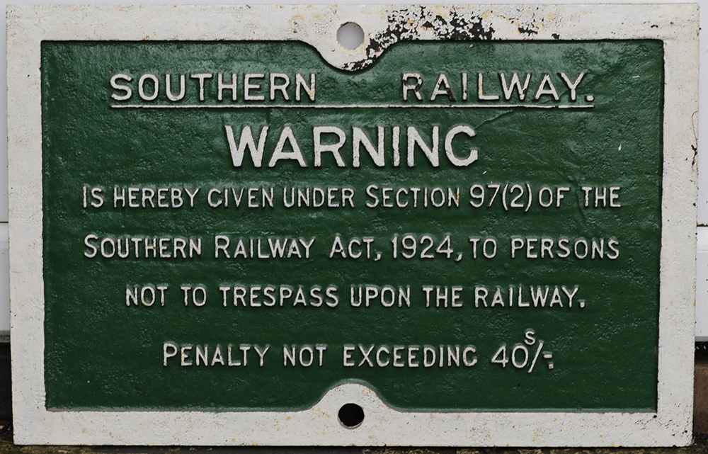 Southern Railway Cast Iron Trespass Sign. Face