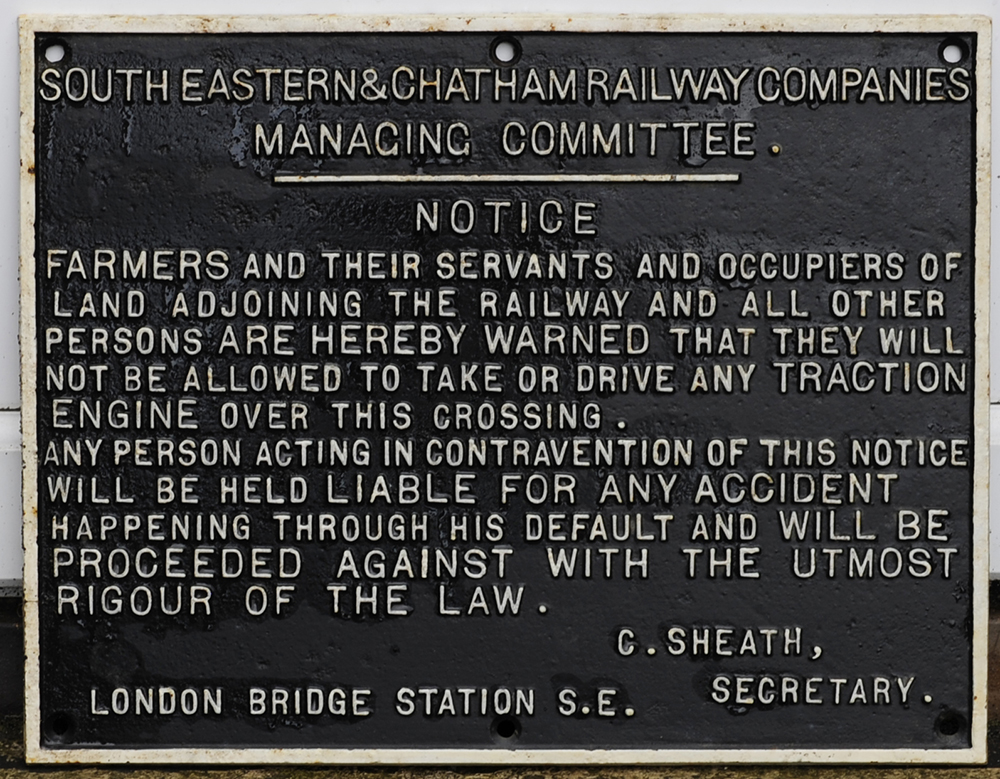 SE&CR Cast Iron Sign. NOTICE TO FARMERS And