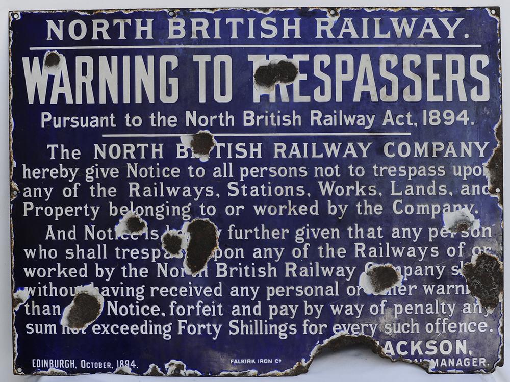 North British Railway ENAMEL TRESPASS SIGN. Not