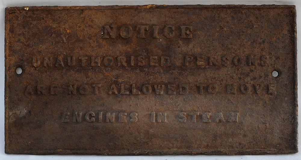 Cast Iron Sign. Notice Unauthorised Persons Are