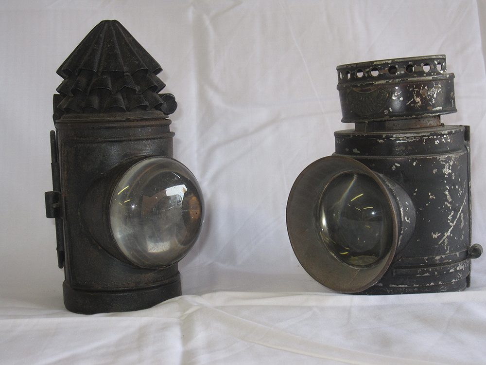 Oil Hand Police Lamps x2 One Plated The Crescent
