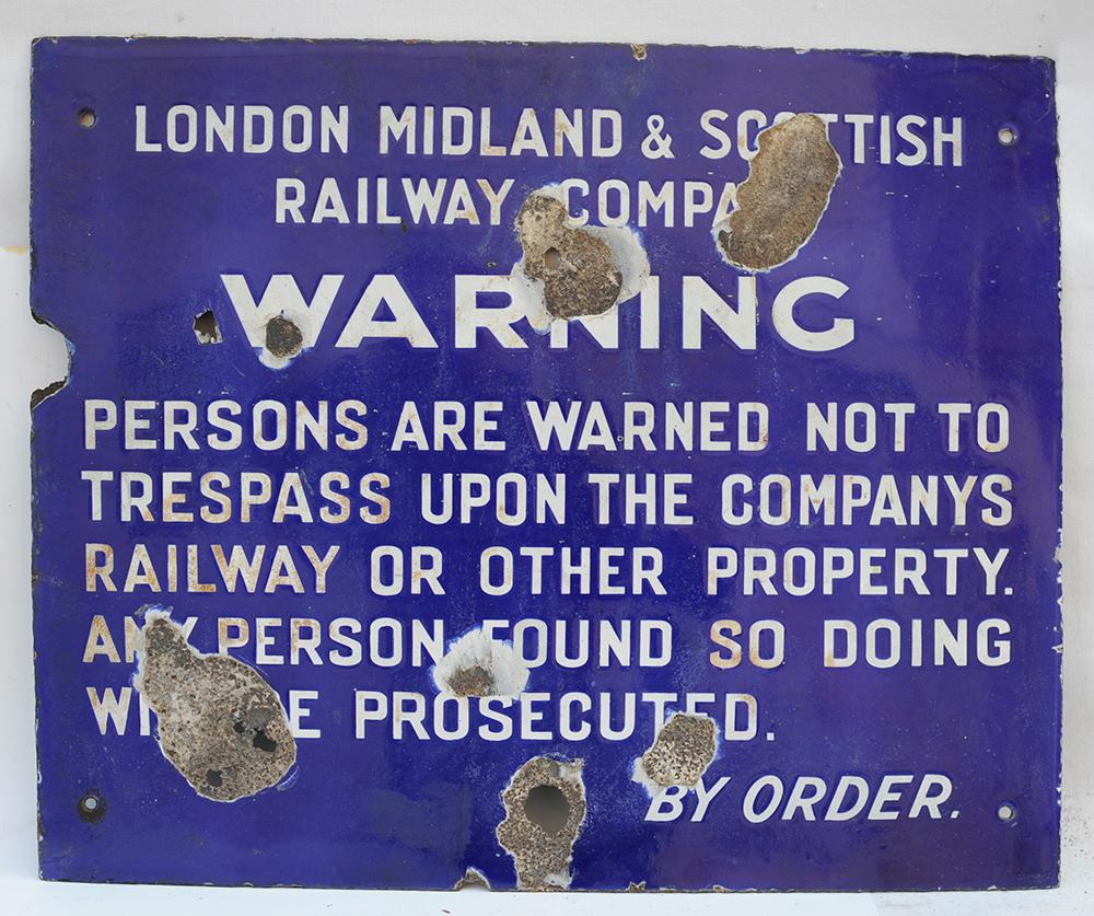 LMS Blue Enamel Trespass Sign. Warning Not To