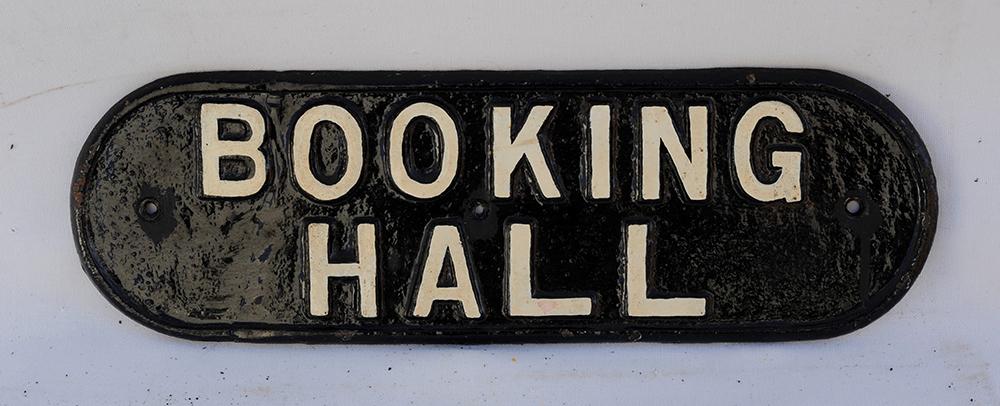 LNER Cast Iron Door Plate. BOOKING HALL. Welded