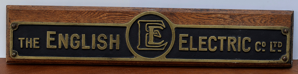 A Brass The English Electric Co Ltd Plaque Mounted